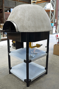 Gas oven on powder coated stand