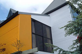 Powder coated building exterior